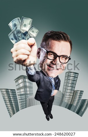 happy businessman with big head holding money. funny picture over dark background