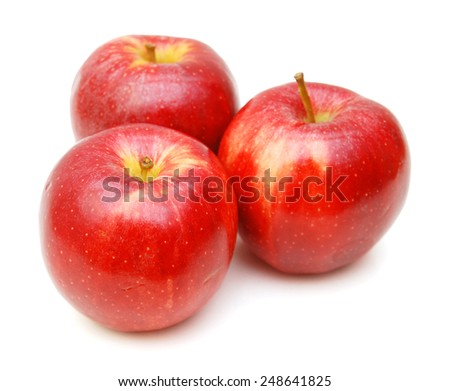 fresh red apples isolated on white background  #248641825