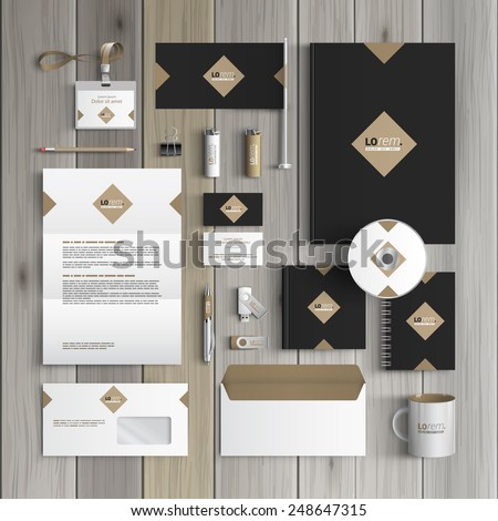 Classic black corporate identity template design with rhombus. Business stationery Royalty-Free Stock Photo #248647315