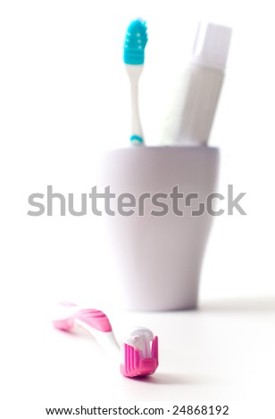 toothbrushe and toothpaste closeup. dental care #24868192