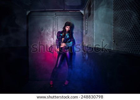 Beautiful young woman in the old elevator #248830798