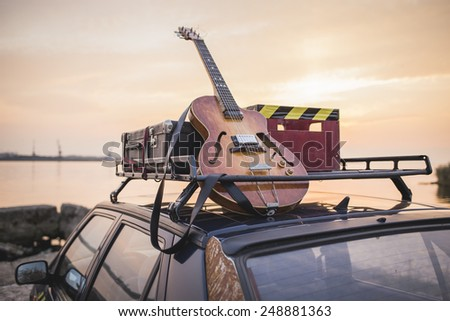 Music instrumental guitar car outdoor background #248881363