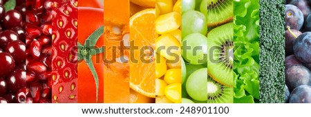 Healthy food background. Collection with different fruits, berries and vegetables #248901100