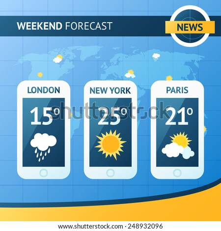 Weather forecast background with mobile meteorology application widgets vector illustration #248932096