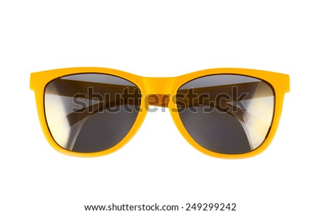 Yellow sun glasses isolated over the white background Royalty-Free Stock Photo #249299242