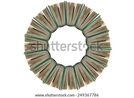 A circle of books to pass on knowledge and wisdom Royalty-Free Stock Photo #249367786