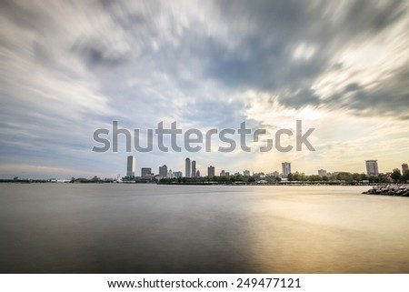 Milwaukee skyline at sunset, Wisconsin, USA