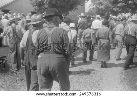 Spectators at public farm auction, central Ohio, Aug. 1938. #249576316