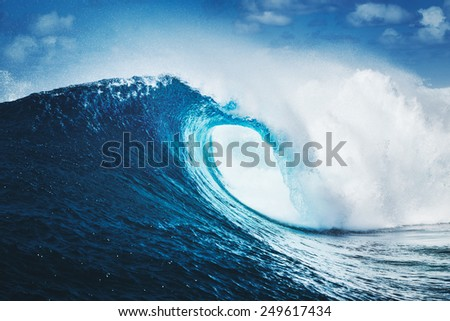 Blue Ocean Wave, Epic Surf Royalty-Free Stock Photo #249617434