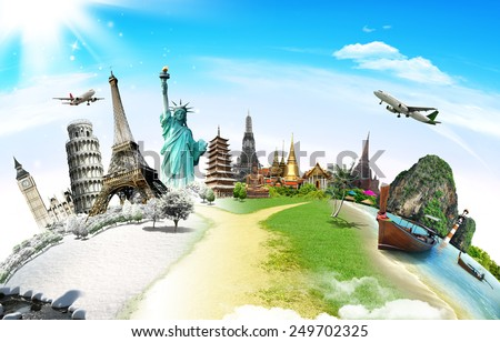 Travel the world monument concept Royalty-Free Stock Photo #249702325
