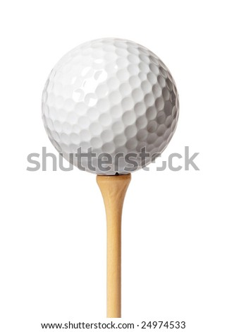 Golf ball on a tee isolated on white #24974533