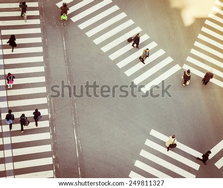 Crossing Sign Top view with People walking Business area