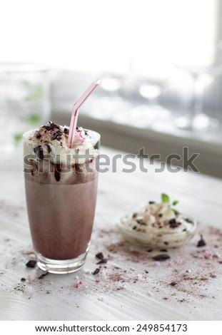 home made chocolate milk (shake) #249854173