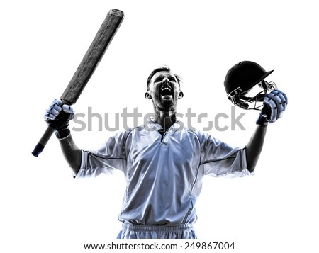 Cricket player portrait in silhouette shadow on white background