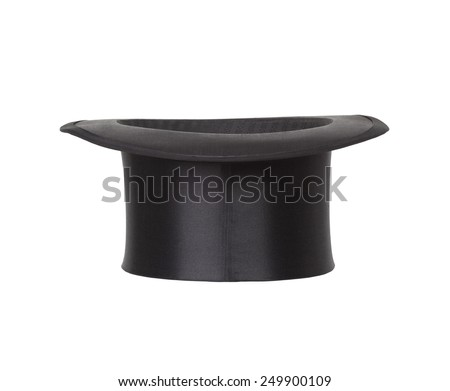Old black top hat isolated on white background #249900109