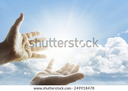 Hands reaching for the sky #249918478