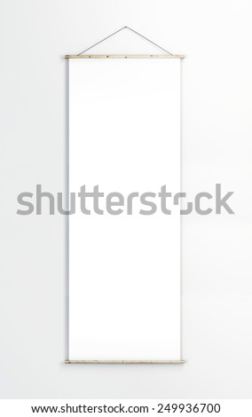 White poster on the white wall