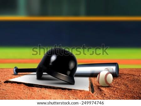 Baseball equipment on base #249974746