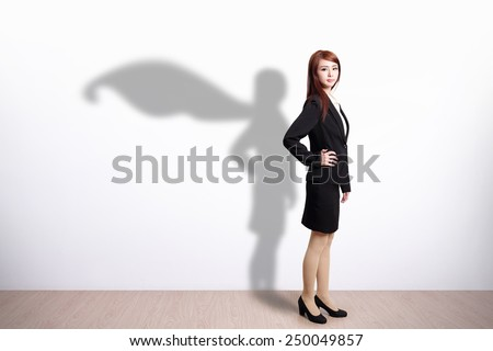 Superhero Business Woman with white wall background, great for your design or text, asian