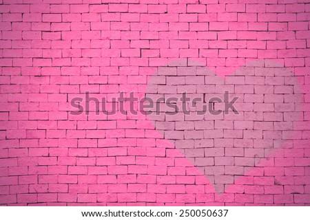 brick wall graffiti heart, valentines day background #250050637
