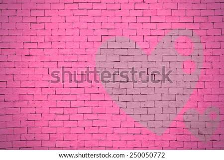 brick wall graffiti heart, valentines day background #250050772