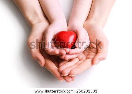 Heart in hands isolated on white #250201501