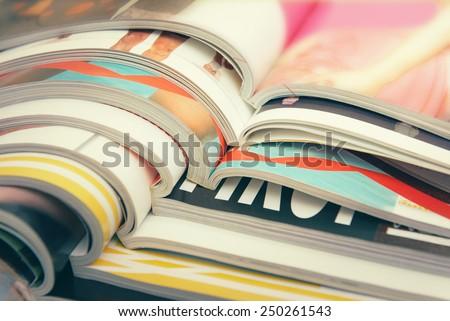 Stack of magazines Royalty-Free Stock Photo #250261543