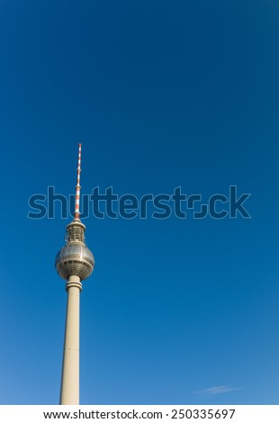 Berlin TV Tower on clear blue sky background #250335697