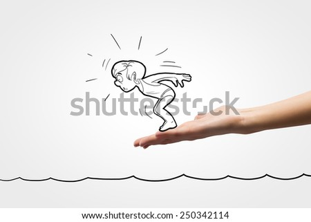 Caricature of man swimmer jumping from human palm