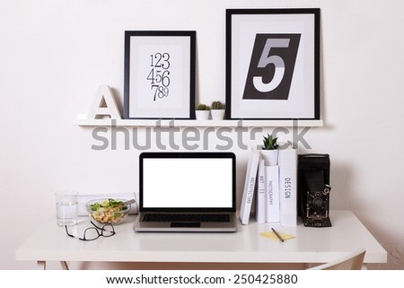 Black and white office at home. /  Modern creative workspace.