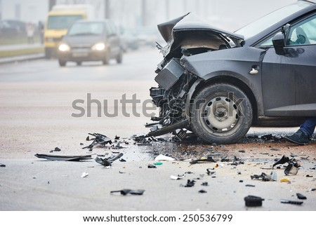 car crash accident on street, damaged automobiles after collision in city Royalty-Free Stock Photo #250536799