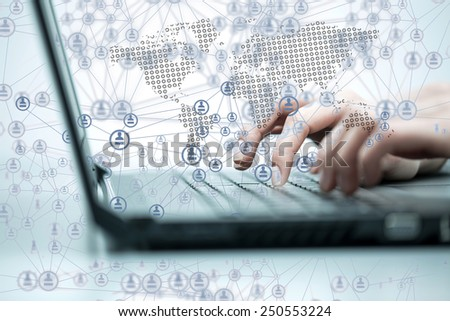 Business woman working on computer against technology background #250553224
