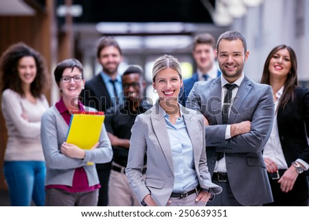 young multi ethnic business people group walking standing and top view #250639351