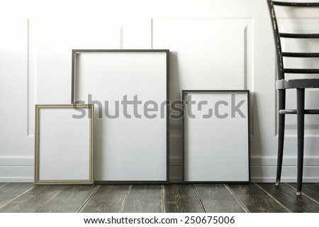 mockup of blank three frame poster on the floor