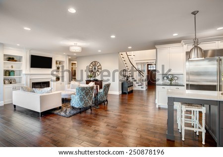 Furnished living Room in Luxury Home Royalty-Free Stock Photo #250878196