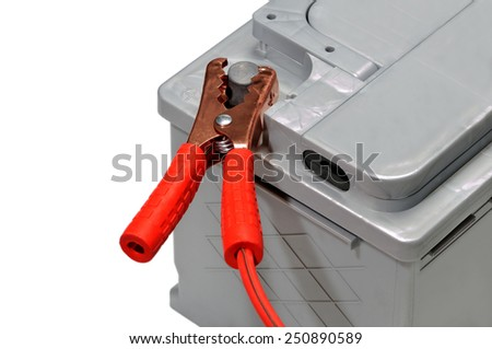 Car battery and red jumper cable isolated on white background. #250890589