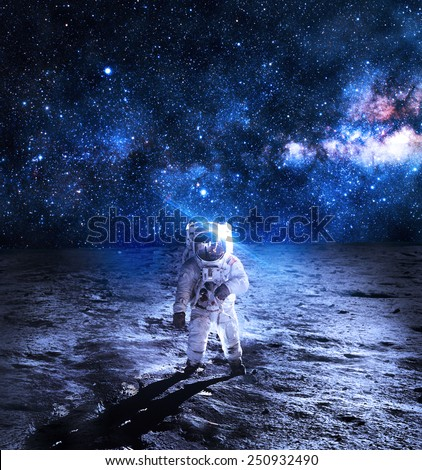 Astronaut on the Moon - Elements of this Image Furnished by NASA #250932490