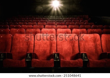 Empty comfortable red seats with numbers in cinema #251048641