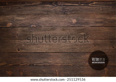 Wood texture, vector Eps10 illustration. Natural Dark Wooden Background. Royalty-Free Stock Photo #251129536