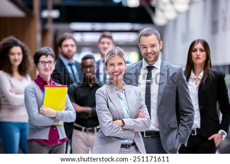 young multiethnic business people group walking standing and top view #251171611