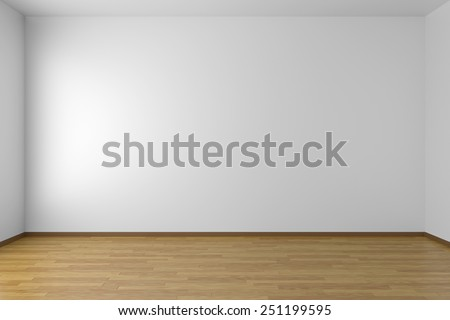 Empty white room with white walls and wooden parquet floor, 3D illustration #251199595