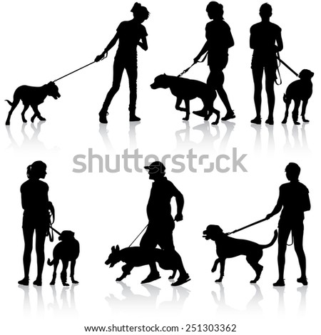 Silhouettes of people and dogs.  illustration.
