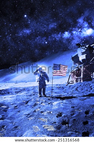 Astronaut with Flag On the Moon - Elements of this Image Furnished by NASA #251316568
