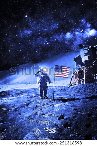 Astronaut with Flag On the Moon - Elements of this Image Furnished by NASA #251316598
