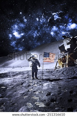 Astronaut with Flag On the Moon - Elements of this Image Furnished by NASA #251316610