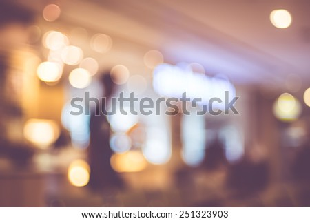 Blurred background : Vintage filter ,People in Coffee shop blur background with bokeh.