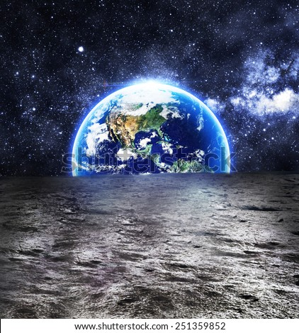 The Earth as Seen from the Surface of the Moon - Elements of this Image Furnished by NASA