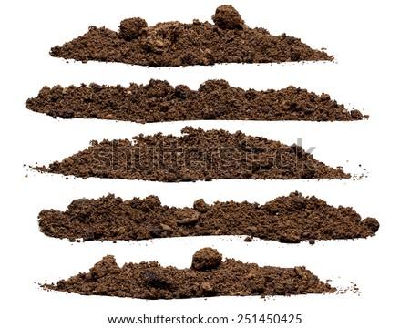 Set pile of soil isolated on white background Royalty-Free Stock Photo #251450425