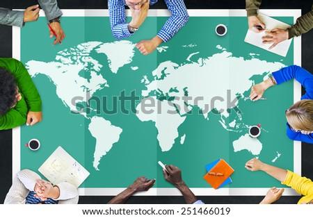 World Global Business Cartography Globalization International Concept #251466019