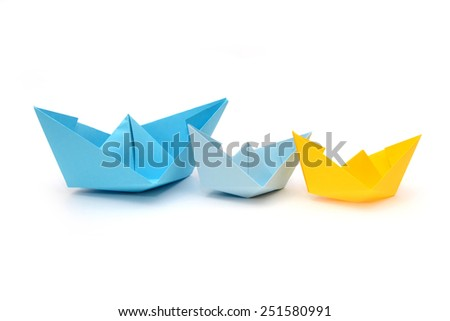 blue and yellow paper boats, origami  #251580991